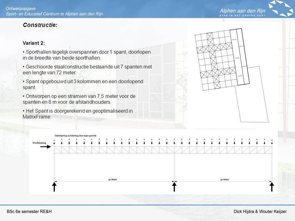 Constructie: Variant 2: Sporthallen tegelijk overspannen door 1 spant, doorlopen in de breedte van beide sporthallen. Geschoorde staalconstructie best