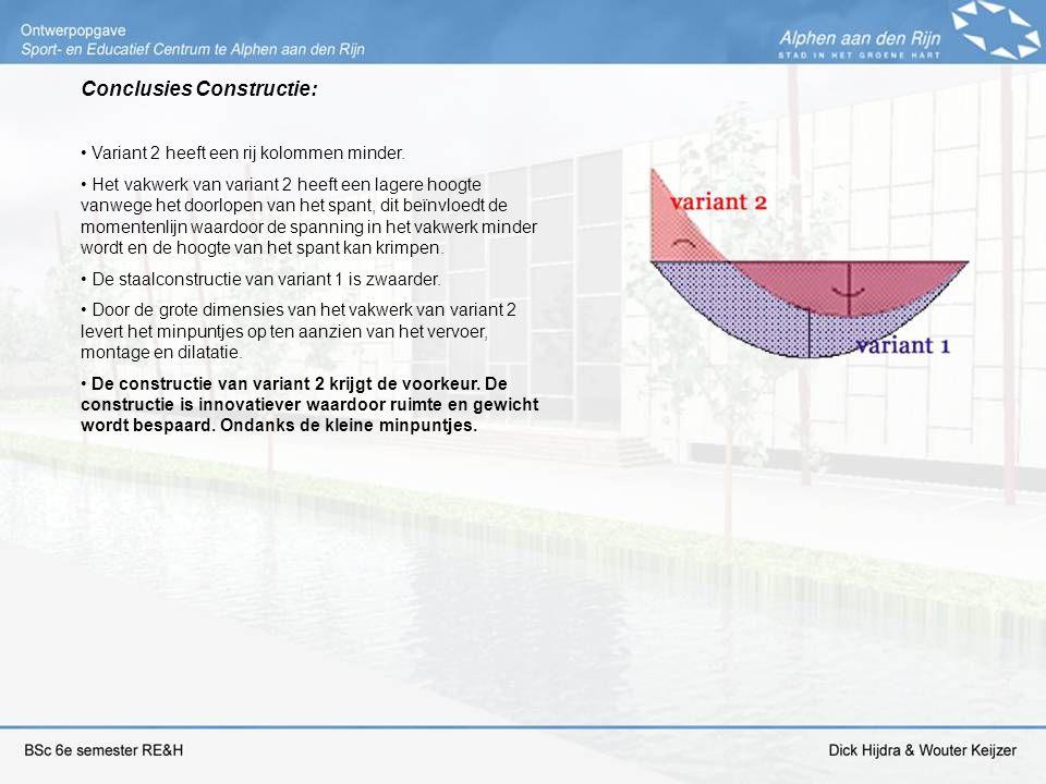 Conclusies Constructie: Variant 2 heeft een rij kolommen minder. Het vakwerk van variant 2 heeft een lagere hoogte vanwege het doorlopen van het spant