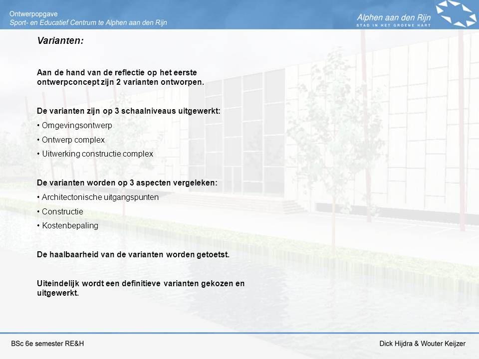 Varianten: Aan de hand van de reflectie op het eerste ontwerpconcept zijn 2 varianten ontworpen. De varianten zijn op 3 schaalniveaus uitgewerkt: Omge