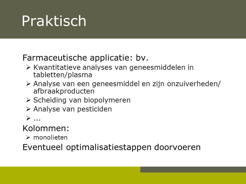 Praktisch Farmaceutische applicatie: bv.