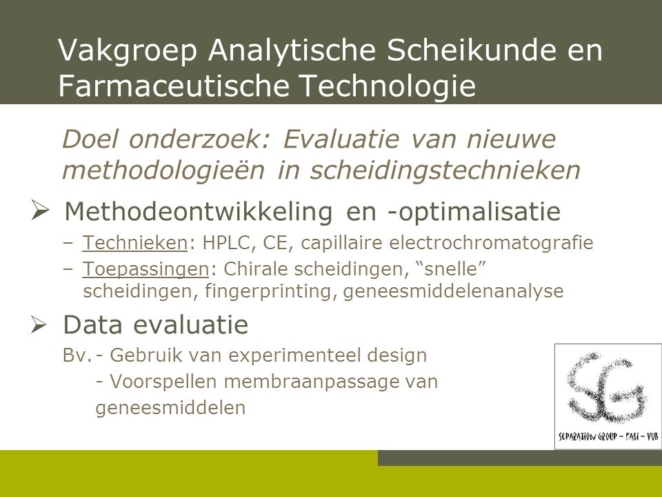 Applicatie-ontwikkeling in (pressurized) Capillaire Electrochromatografie Indiana Tanret