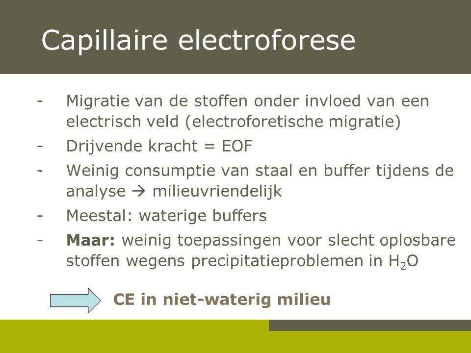 Capillaire electroforese -Migratie van de stoffen onder invloed van een electrisch veld (electroforetische migratie) - Drijvende kracht = EOF - Weinig consumptie van staal en buffer tijdens de analyse  milieuvriendelijk - Meestal: waterige buffers - Maar: weinig toepassingen voor slecht oplosbare stoffen wegens precipitatieproblemen in H 2 O CE in niet-waterig milieu