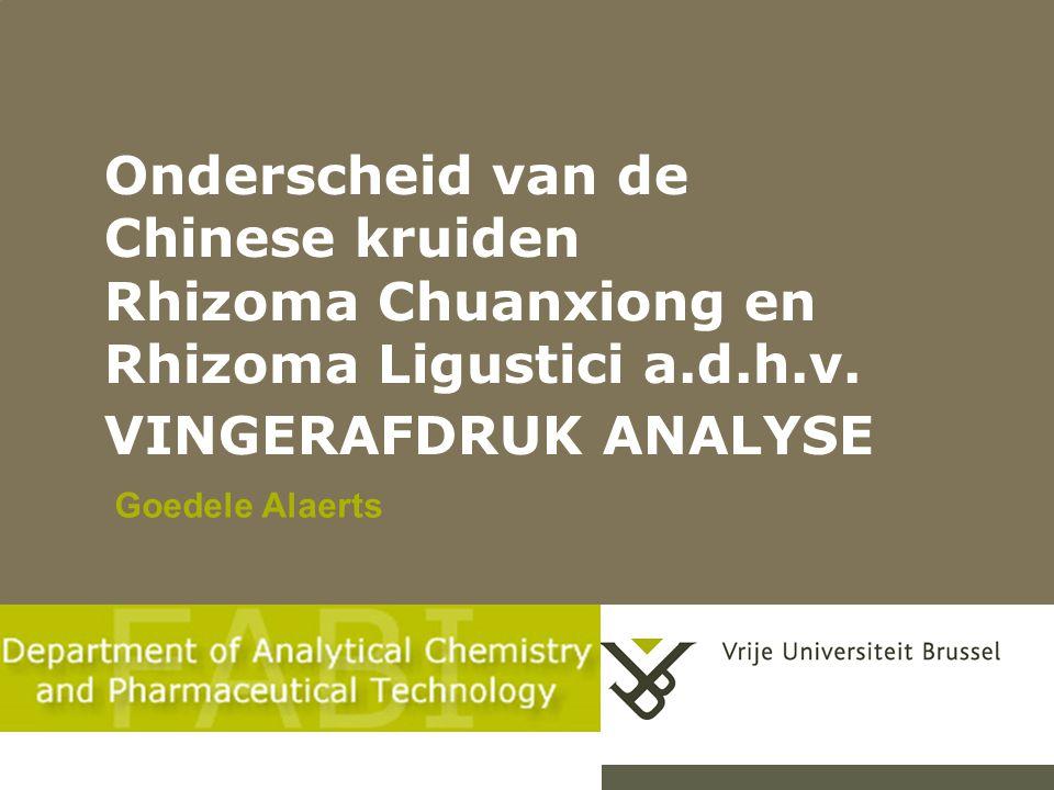 Onderscheid van de Chinese kruiden Rhizoma Chuanxiong en Rhizoma Ligustici a.d.h.v.