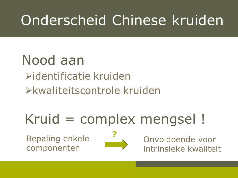 Nood aan  identificatie kruiden  kwaliteitscontrole kruiden Kruid = complex mengsel .