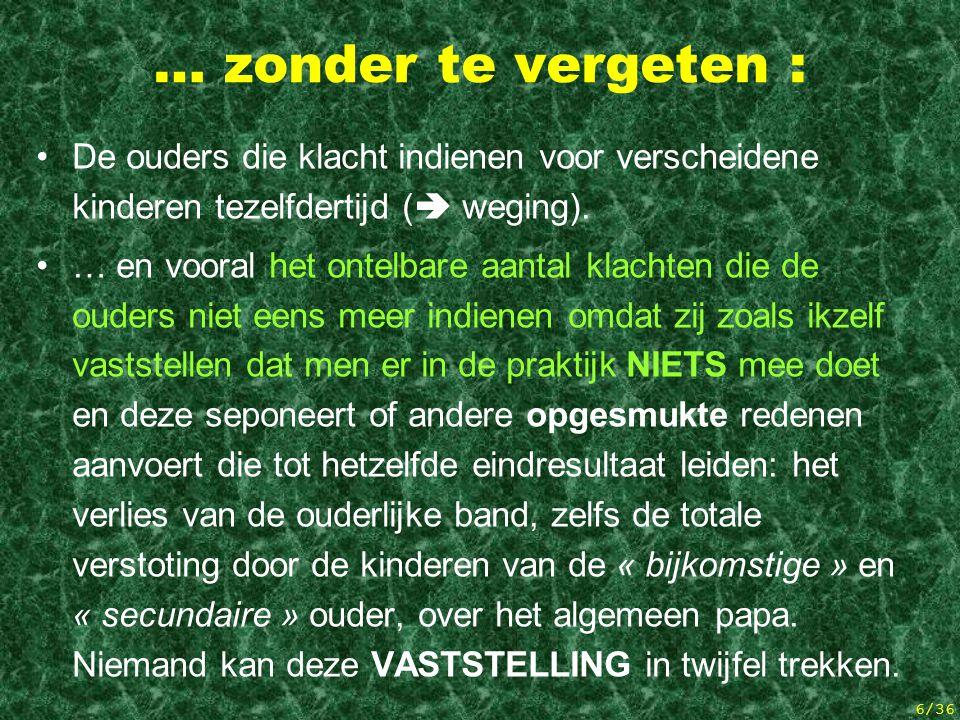 5/36 Bij deze cijfers komen nog : Alle niet-gecodeerde statistieken: over drie jaar (2000- 2002) telde men officieel 33 klachten te Verviers (ik tel e
