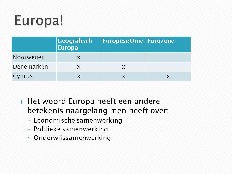 Geografisch Europa Europese UnieEurozone Noorwegenx Denemarkenxx Cyprusxxx HHet woord Europa heeft een andere betekenis naargelang men heeft over: ◦E◦Economische samenwerking ◦P◦Politieke samenwerking ◦O◦Onderwijssamenwerking