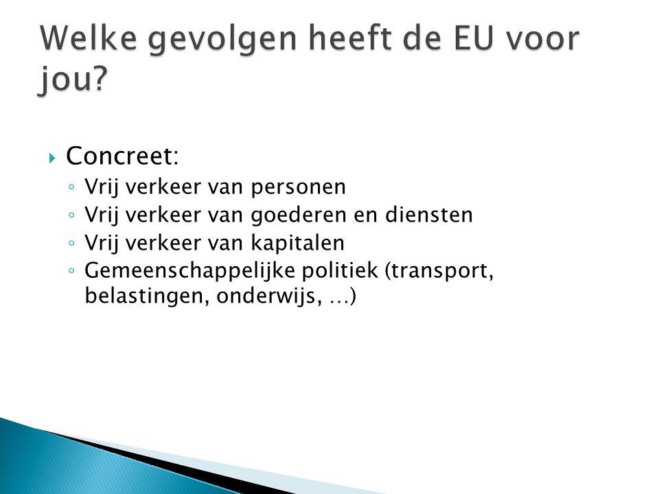 CConcreet: ◦V◦Vrij verkeer van personen ◦V◦Vrij verkeer van goederen en diensten ◦V◦Vrij verkeer van kapitalen ◦G◦Gemeenschappelijke politiek (transport, belastingen, onderwijs, …)