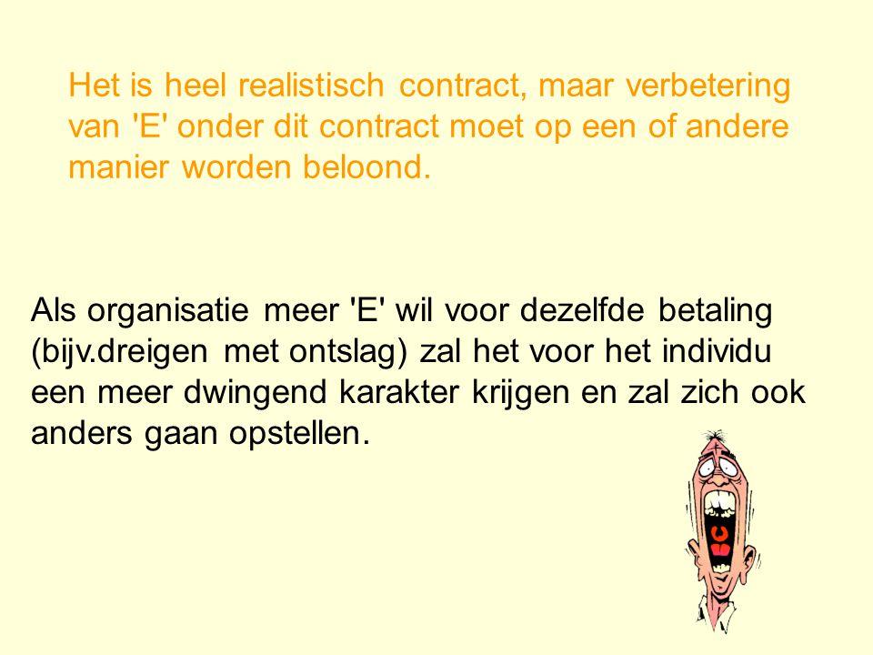 berekenend contract Het is een vrijwillig contract *uitwisseling van dingen of geld in ruil voor verleende diensten *controle is in handen van managem