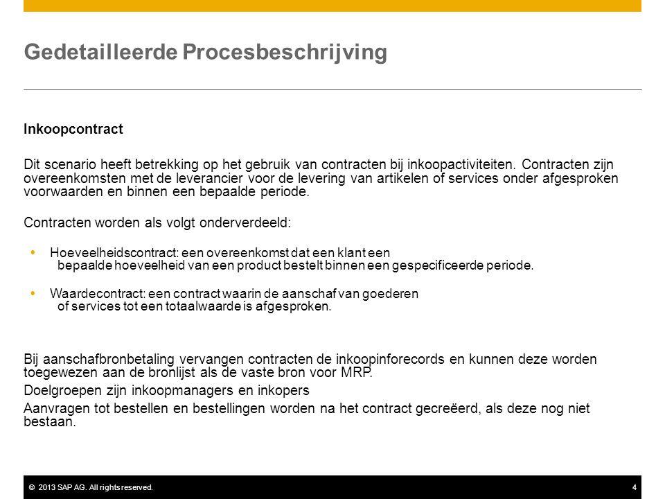 ©2013 SAP AG. All rights reserved.4 Gedetailleerde Procesbeschrijving Inkoopcontract Dit scenario heeft betrekking op het gebruik van contracten bij i