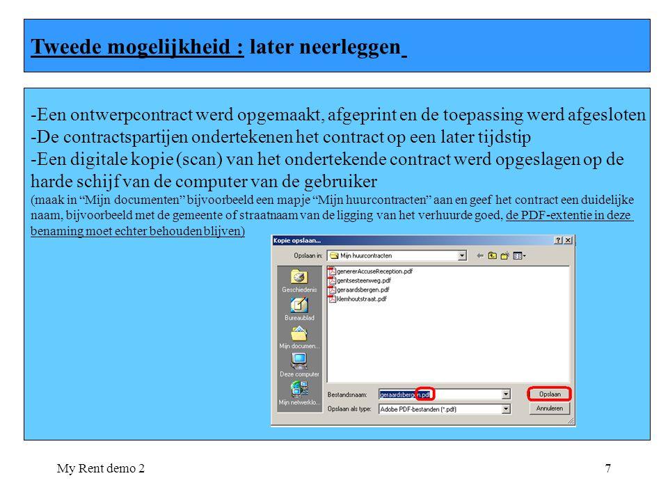 My Rent demo 28 - De gebruiker wenst dit contract nu neer te leggen op het bevoegde registratiekantoor en logt zich opnieuw aan in MyRent 1.