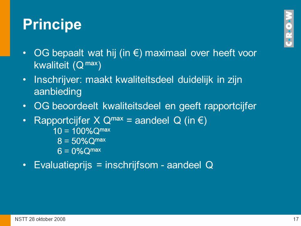 NSTT 28 oktober 200817 Principe OG bepaalt wat hij (in €) maximaal over heeft voor kwaliteit (Q max ) Inschrijver: maakt kwaliteitsdeel duidelijk in z
