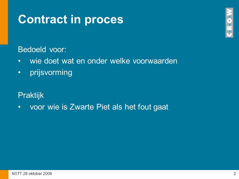 NSTT 28 oktober 20082 Contract in proces Bedoeld voor: wie doet wat en onder welke voorwaarden prijsvorming Praktijk voor wie is Zwarte Piet als het f