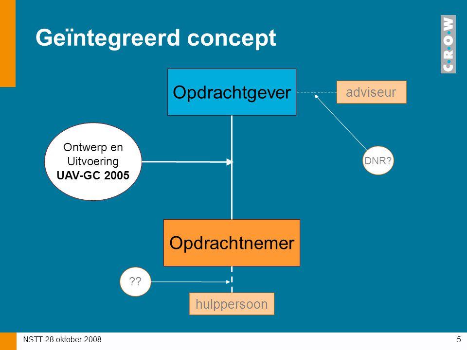 NSTT 28 oktober 20085 Geïntegreerd concept Opdrachtgever Opdrachtnemer Ontwerp en Uitvoering UAV-GC 2005 adviseur DNR? hulppersoon ??