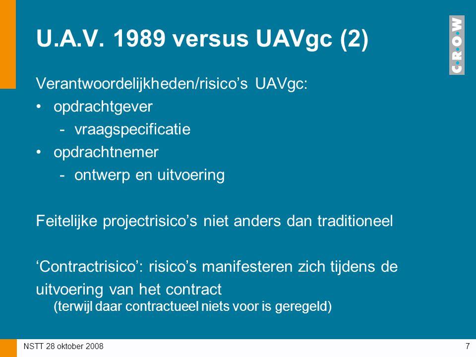 NSTT 28 oktober 20087 U.A.V. 1989 versus UAVgc (2) Verantwoordelijkheden/risico's UAVgc: opdrachtgever -vraagspecificatie opdrachtnemer -ontwerp en ui