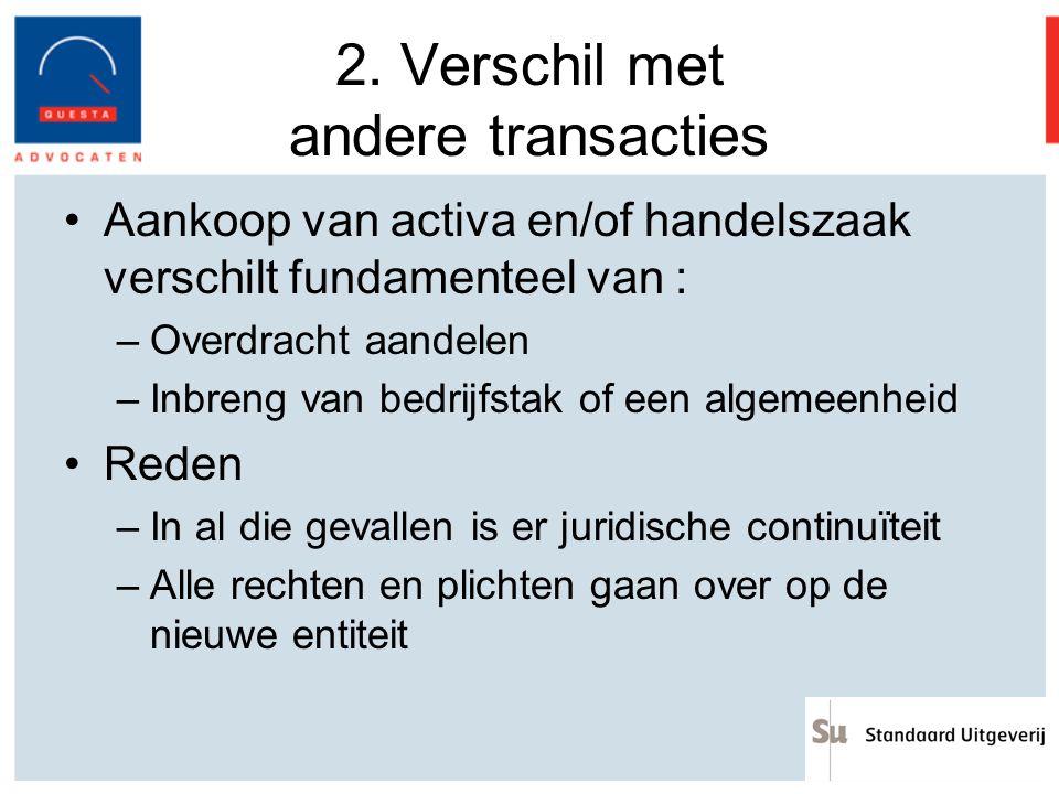 2. Verschil met andere transacties Aankoop van activa en/of handelszaak verschilt fundamenteel van : –Overdracht aandelen –Inbreng van bedrijfstak of