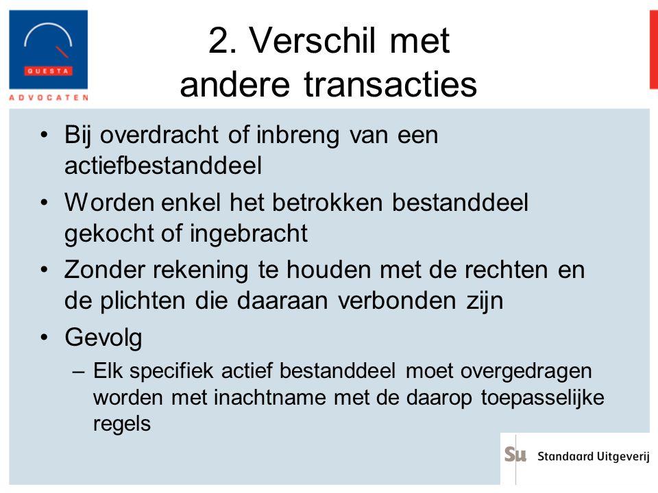 2. Verschil met andere transacties Bij overdracht of inbreng van een actiefbestanddeel Worden enkel het betrokken bestanddeel gekocht of ingebracht Zo