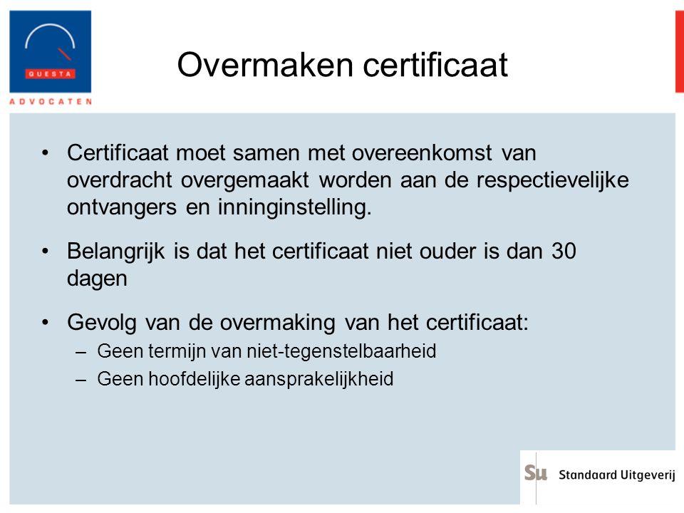 Overmaken certificaat Certificaat moet samen met overeenkomst van overdracht overgemaakt worden aan de respectievelijke ontvangers en inninginstelling