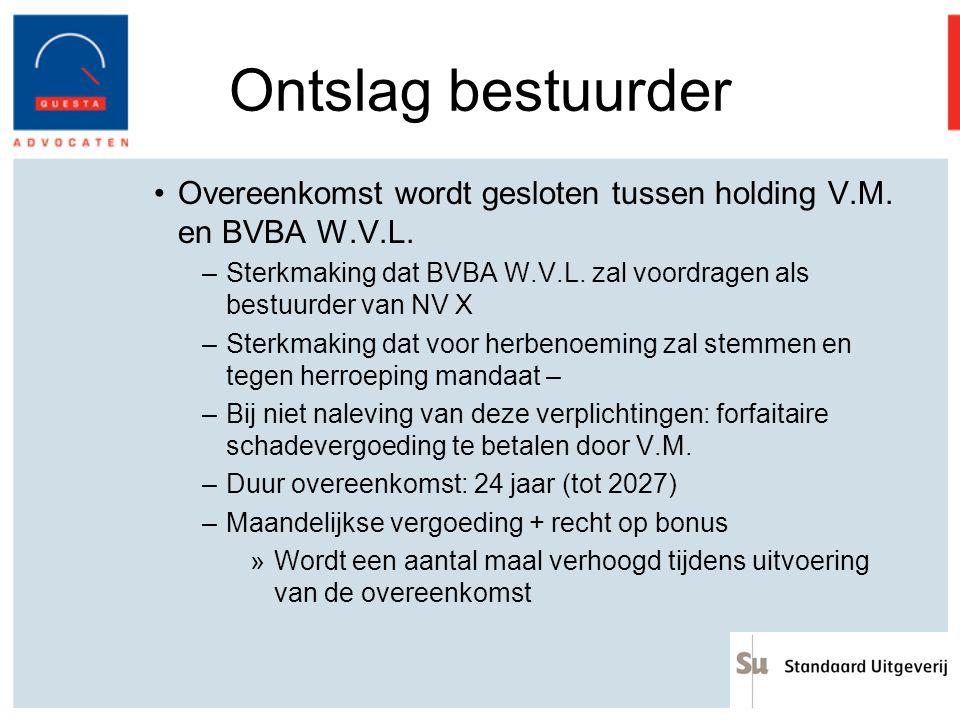 Ontslag bestuurder Overeenkomst wordt gesloten tussen holding V.M. en BVBA W.V.L. –Sterkmaking dat BVBA W.V.L. zal voordragen als bestuurder van NV X
