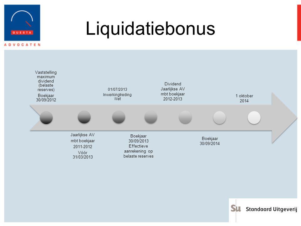 Liquidatiebonus Vaststelling maximum dividend (belaste reserves) Boekjaar 30/09/2012 Jaarlijkse AV mbt boekjaar 2011-2012 Vóór 31/03/2013 01/07/2013 I