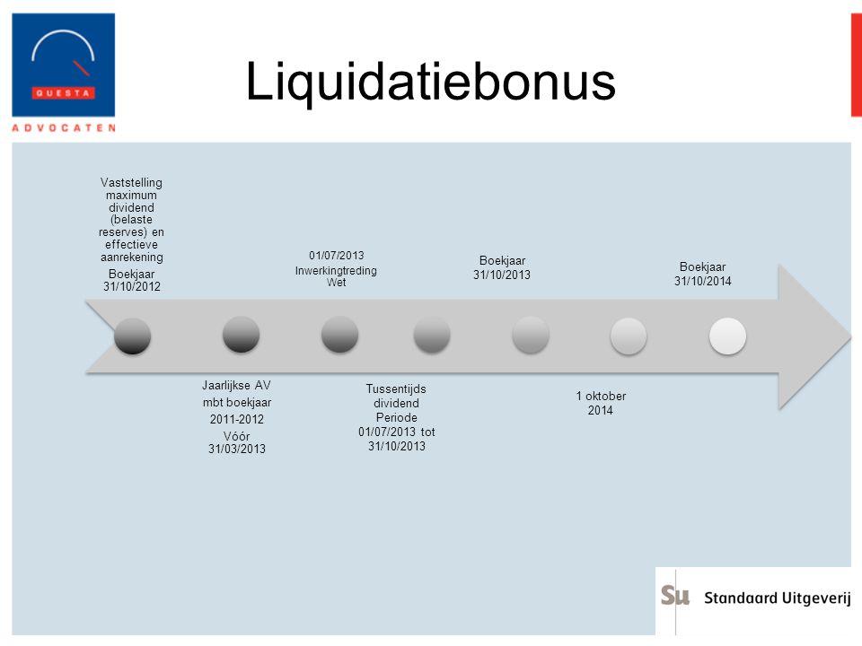 Liquidatiebonus Vaststelling maximum dividend (belaste reserves) en effectieve aanrekening Boekjaar 31/10/2012 Jaarlijkse AV mbt boekjaar 2011-2012 Vó