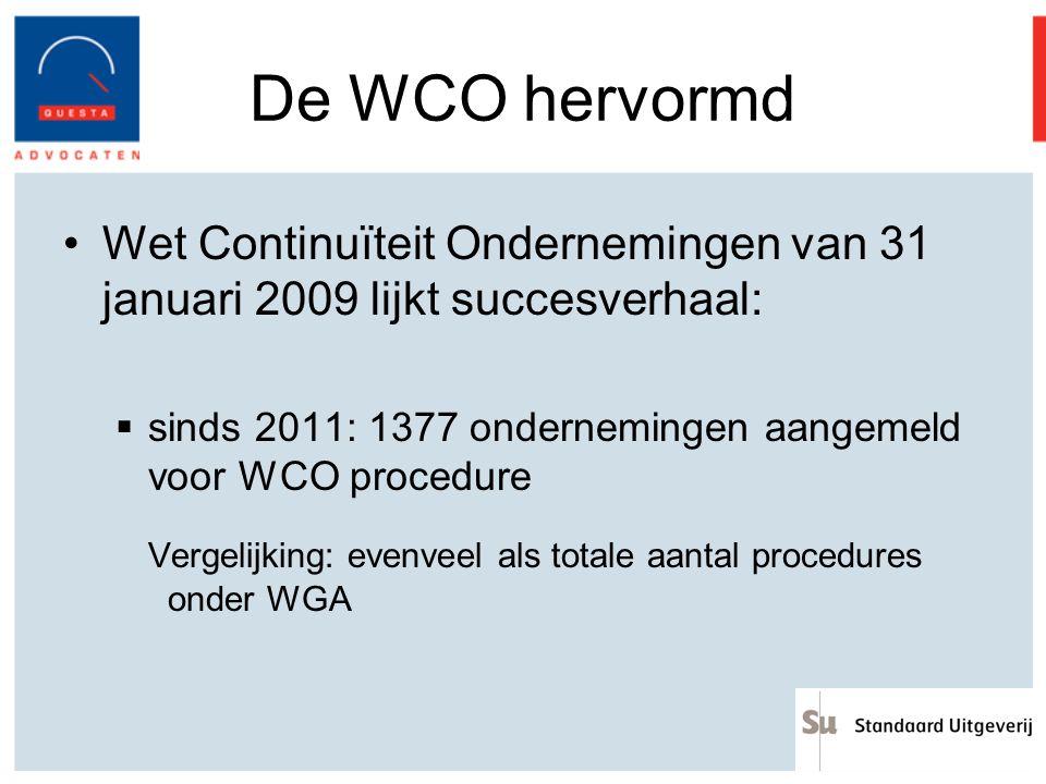 De WCO hervormd Wet Continuïteit Ondernemingen van 31 januari 2009 lijkt succesverhaal:  sinds 2011: 1377 ondernemingen aangemeld voor WCO procedure