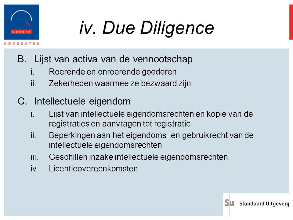 iv. Due Diligence B.Lijst van activa van de vennootschap i.Roerende en onroerende goederen ii.Zekerheden waarmee ze bezwaard zijn C.Intellectuele eige