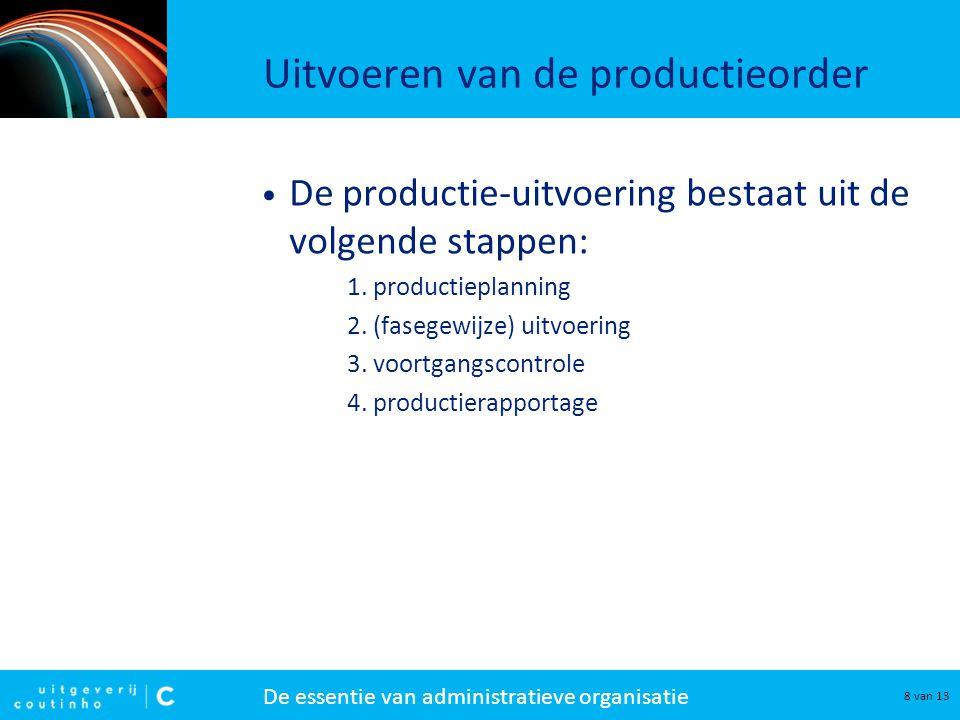 De essentie van administratieve organisatie 9 van 13 Uitvoeren van de productieorder De productieplanning bestaat uit: Zorgen voor de beschikbaarheid van materiaal → inkoopopdracht.