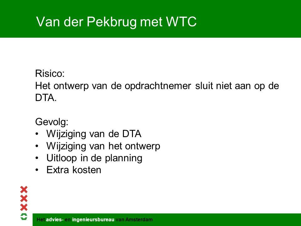 Het advies- en ingenieursbureau van Amsterdam Van der Pekbrug met WTC Risico: Het ontwerp van de opdrachtnemer sluit niet aan op de DTA. Gevolg: Wijzi