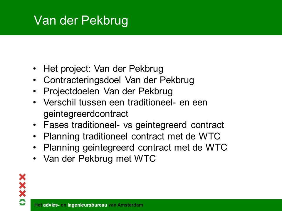 Het advies- en ingenieursbureau van Amsterdam Van der Pekbrug Het project: Van der Pekbrug Contracteringsdoel Van der Pekbrug Projectdoelen Van der Pe