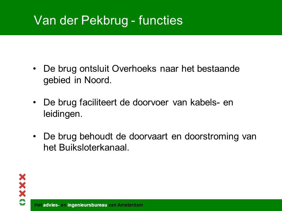 Het advies- en ingenieursbureau van Amsterdam Van der Pekbrug - functies De brug ontsluit Overhoeks naar het bestaande gebied in Noord. De brug facili