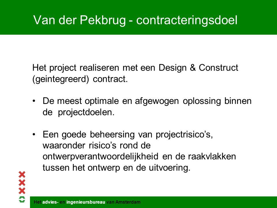 Het advies- en ingenieursbureau van Amsterdam Van der Pekbrug - contracteringsdoel Het project realiseren met een Design & Construct (geintegreerd) co