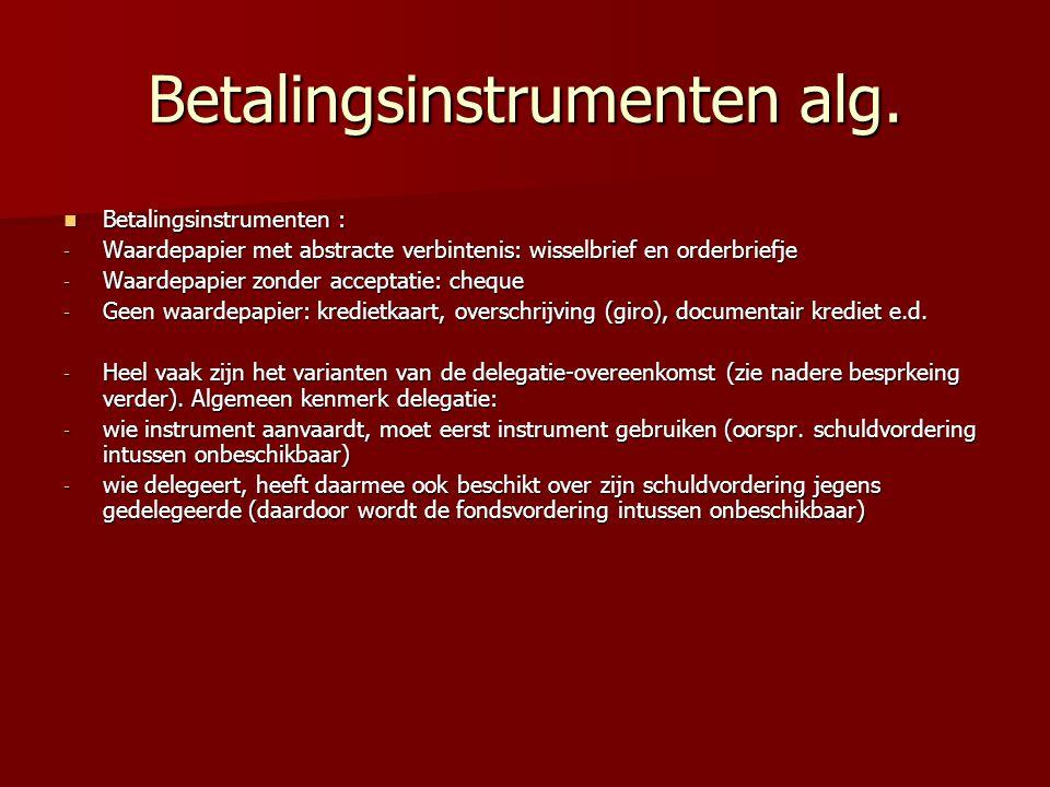 Betalingsinstrumenten alg. Betalingsinstrumenten : Betalingsinstrumenten : - Waardepapier met abstracte verbintenis: wisselbrief en orderbriefje - Waa