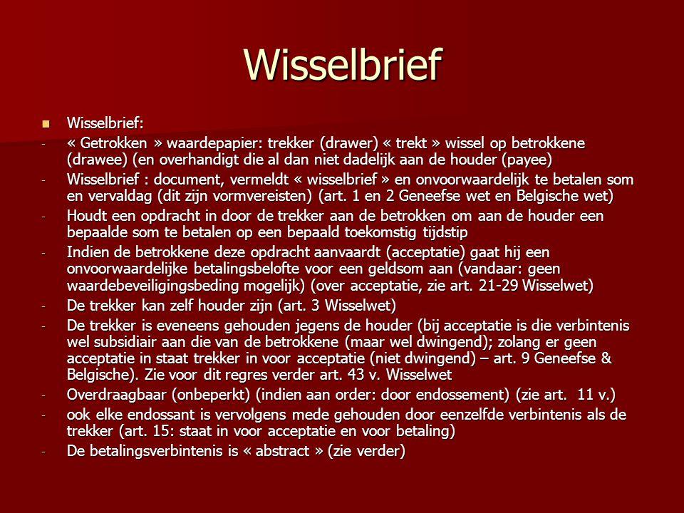 Wisselbrief Wisselbrief: Wisselbrief: - « Getrokken » waardepapier: trekker (drawer) « trekt » wissel op betrokkene (drawee) (en overhandigt die al da