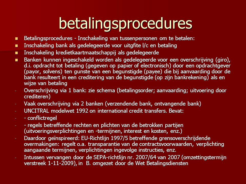 betalingsprocedures betalingsprocedures Betalingsprocedures - Inschakeling van tussenpersonen om te betalen: Betalingsprocedures - Inschakeling van tussenpersonen om te betalen: Inschakeling bank als gedelegeerde voor uitgfite l/c en betaling Inschakeling bank als gedelegeerde voor uitgfite l/c en betaling Inschakeling kredietkaartmaatschappij als gedelegeerde Inschakeling kredietkaartmaatschappij als gedelegeerde Banken kunnen ingeschakeld worden als gedelegeerde voor een overschrijving (giro), d.i.