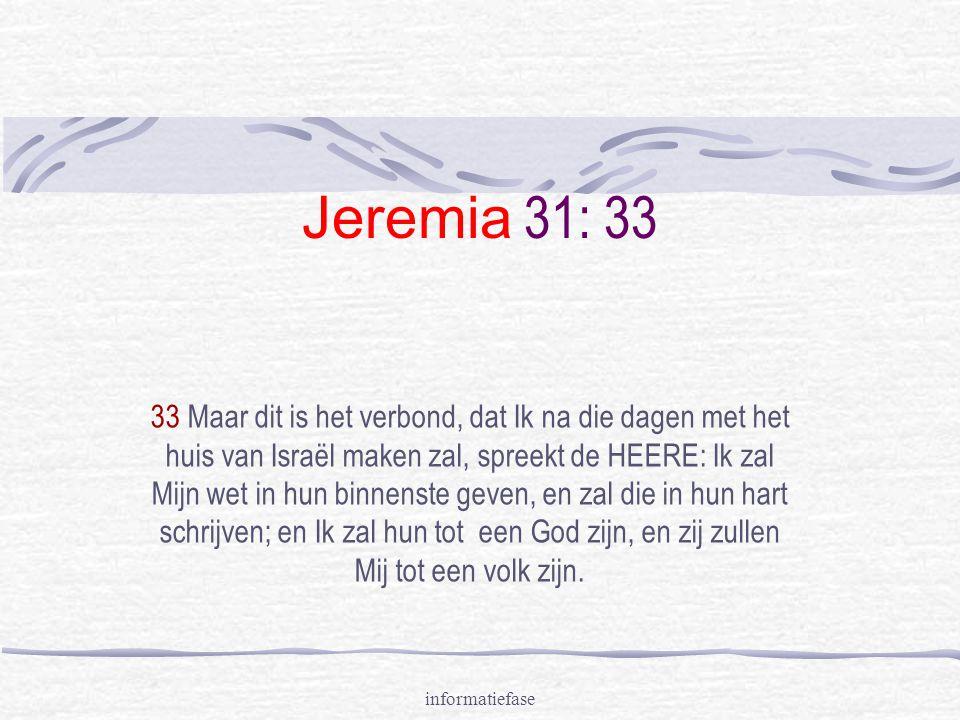 informatiefase Jeremia 31: 33 33 Maar dit is het verbond, dat Ik na die dagen met het huis van Israël maken zal, spreekt de HEERE: Ik zal Mijn wet in hun binnenste geven, en zal die in hun hart schrijven; en Ik zal hun tot een God zijn, en zij zullen Mij tot een volk zijn.