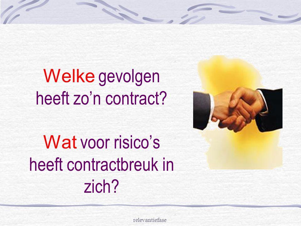 relevantiefase Welke gevolgen heeft zo'n contract? Wat voor risico's heeft contractbreuk in zich?