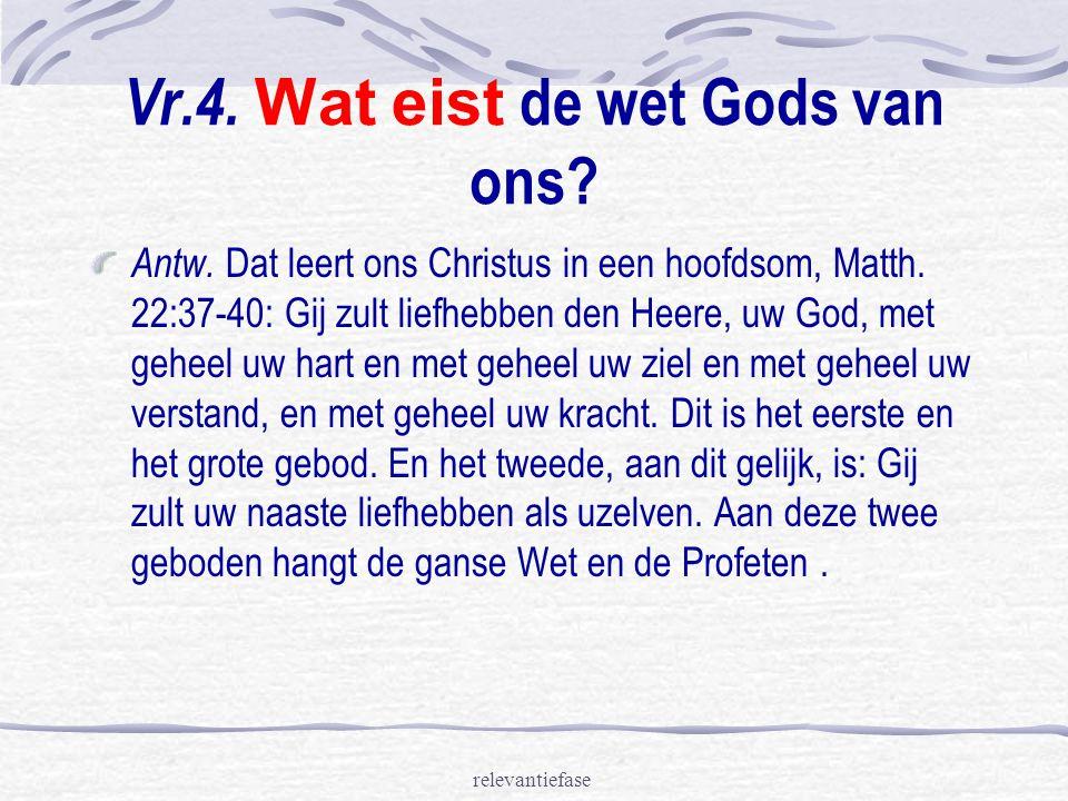 relevantiefase Vr.4.Wat eist de wet Gods van ons.