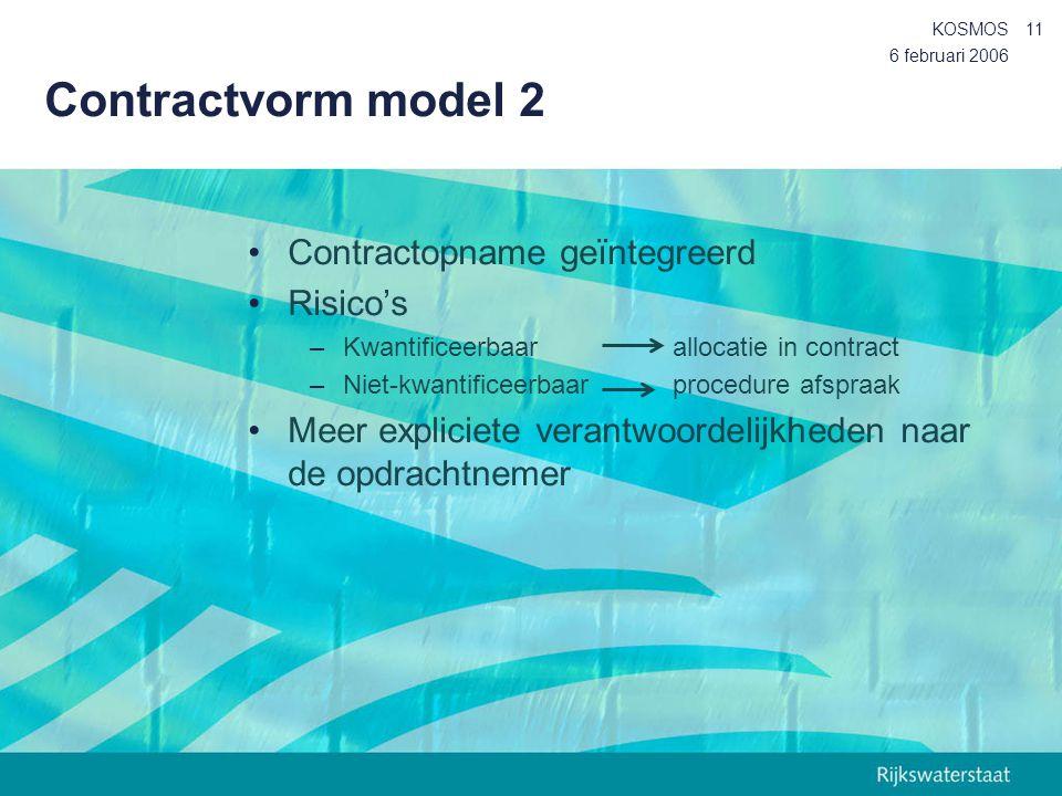 6 februari 2006 KOSMOS11 Contractvorm model 2 Contractopname geïntegreerd Risico's –Kwantificeerbaar allocatie in contract –Niet-kwantificeerbaarproce