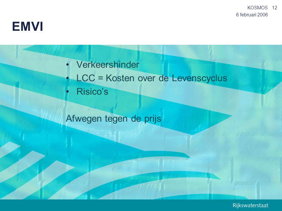 6 februari 2006 KOSMOS12 EMVI Verkeershinder LCC = Kosten over de Levenscyclus Risico's Afwegen tegen de prijs