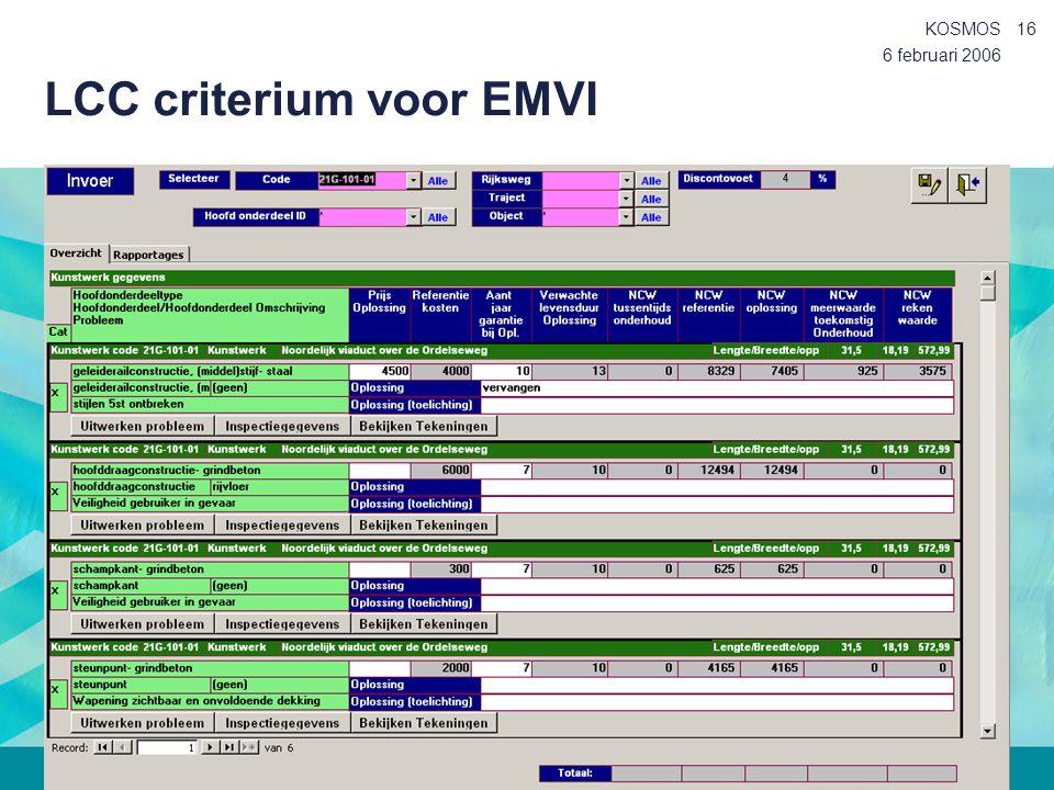 6 februari 2006 KOSMOS16 LCC criterium voor EMVI