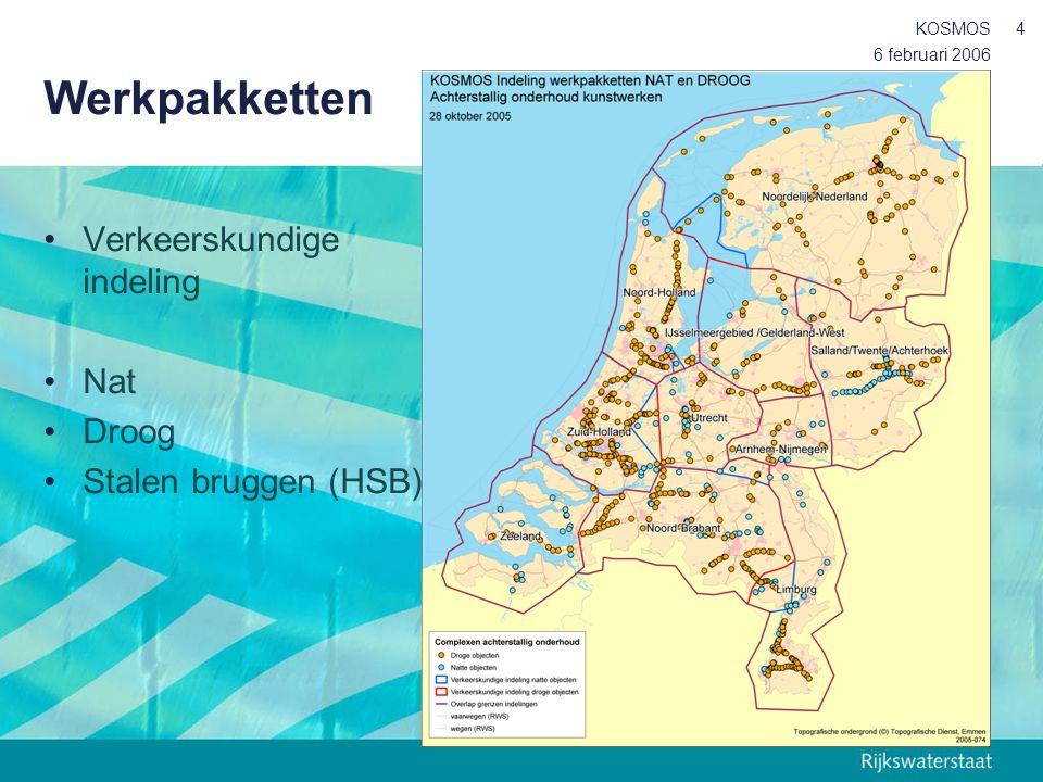 6 februari 2006 KOSMOS4 Werkpakketten Verkeerskundige indeling Nat Droog Stalen bruggen (HSB)