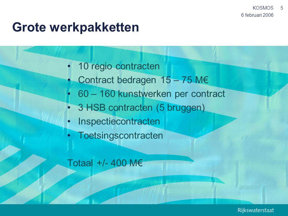6 februari 2006 KOSMOS5 Grote werkpakketten 10 regio contracten Contract bedragen 15 – 75 M€ 60 – 160 kunstwerken per contract 3 HSB contracten (5 bru