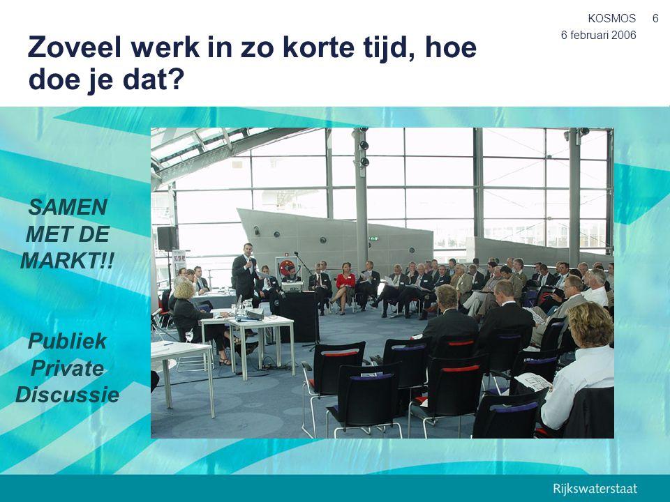 6 februari 2006 KOSMOS6 Zoveel werk in zo korte tijd, hoe doe je dat? SAMEN MET DE MARKT!! Publiek Private Discussie