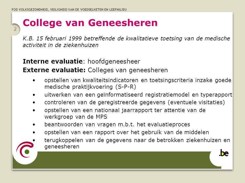 FOD VOLKSGEZONDHEID, VEILIGHEID VAN DE VOEDSELKETEN EN LEEFMILIEU 2 College van Geneesheren K.B. 15 februari 1999 betreffende de kwalitatieve toetsing