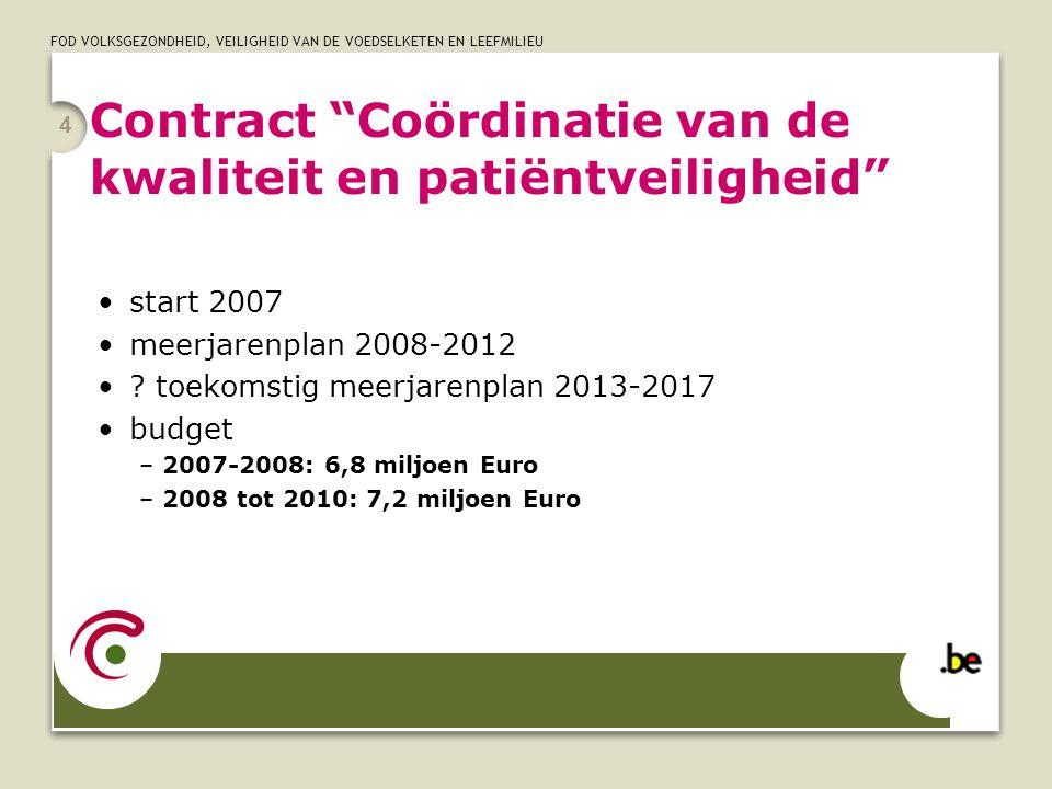 """FOD VOLKSGEZONDHEID, VEILIGHEID VAN DE VOEDSELKETEN EN LEEFMILIEU 4 Contract """"Coördinatie van de kwaliteit en patiëntveiligheid"""" start 2007 meerjarenp"""