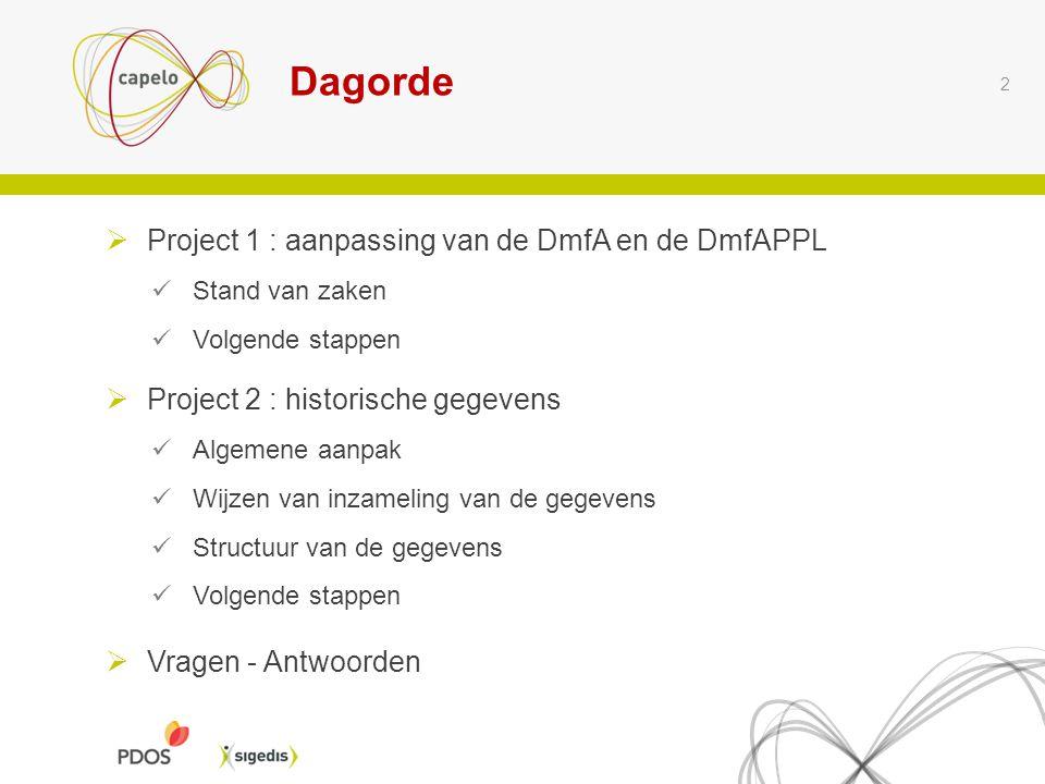 2  Project 1 : aanpassing van de DmfA en de DmfAPPL Stand van zaken Volgende stappen  Project 2 : historische gegevens Algemene aanpak Wijzen van in