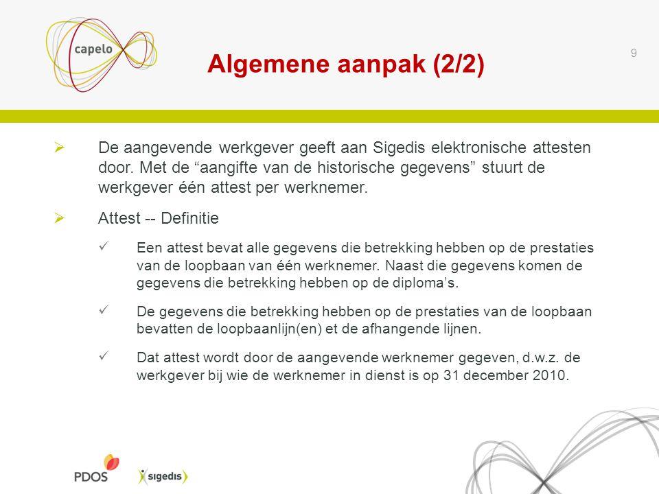 """Algemene aanpak (2/2) 9  De aangevende werkgever geeft aan Sigedis elektronische attesten door. Met de """"aangifte van de historische gegevens"""" stuurt"""