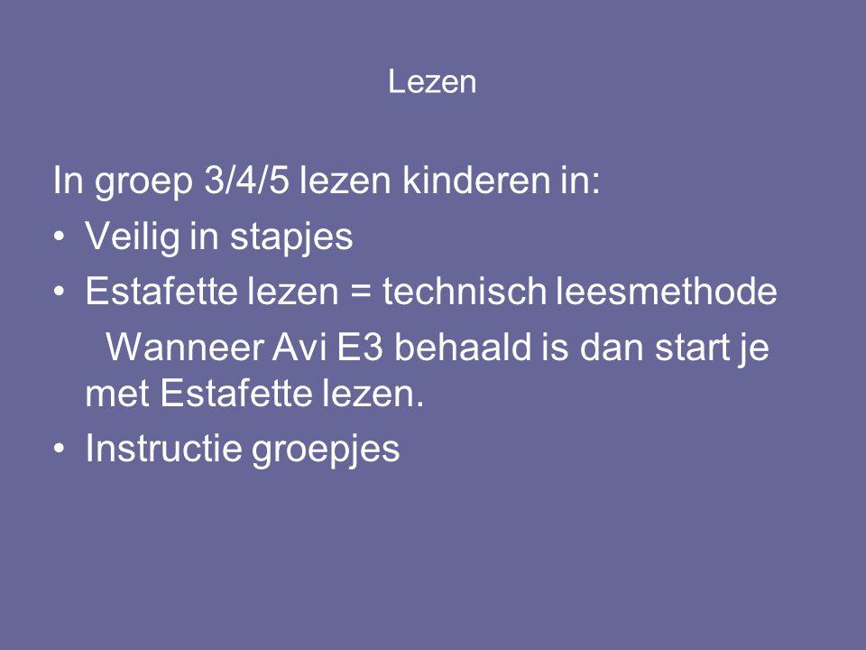 Lezen In groep 3/4/5 lezen kinderen in: Veilig in stapjes Estafette lezen = technisch leesmethode Wanneer Avi E3 behaald is dan start je met Estafette lezen.