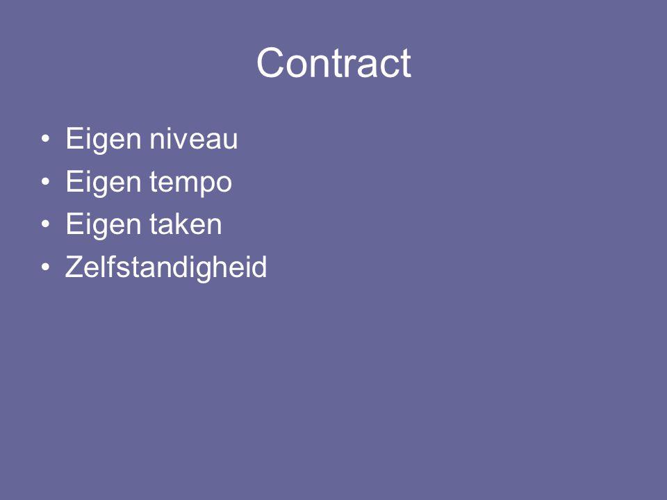 Contract Eigen niveau Eigen tempo Eigen taken Zelfstandigheid