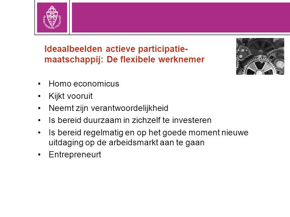 Ideaalbeelden actieve participatie- maatschappij: De flexibele werknemer Homo economicus Kijkt vooruit Neemt zijn verantwoordelijkheid Is bereid duurzaam in zichzelf te investeren Is bereid regelmatig en op het goede moment nieuwe uitdaging op de arbeidsmarkt aan te gaan Entrepreneurt